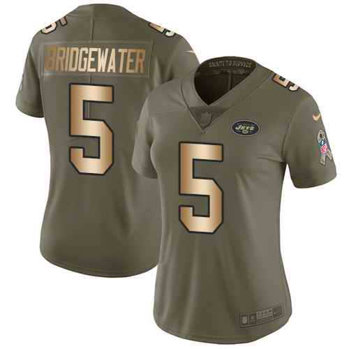 Nike Jets 5 Teddy Bridgewater Olive Gold Women Salute To Service Limited Jersey