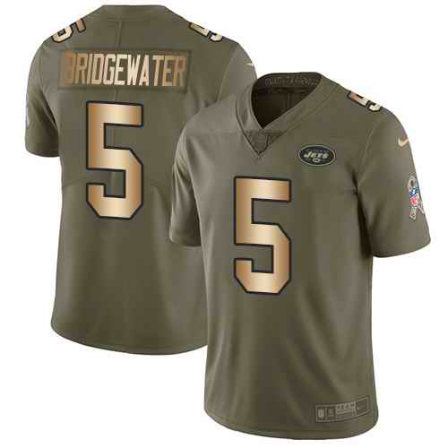 Nike Jets 5 Teddy Bridgewater Olive Gold Youth Salute To Service Limited Jersey