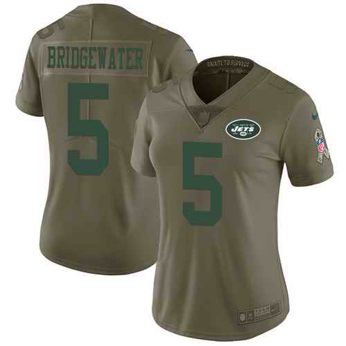 Nike Jets 5 Teddy Bridgewater Olive Women Salute To Service Limited Jersey