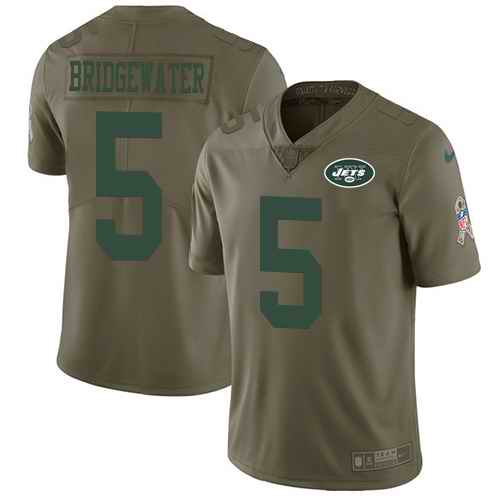 Nike Jets 5 Teddy Bridgewater Olive Youth Salute To Service Limited Jersey