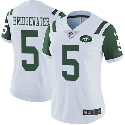 Nike Jets 5 Teddy Bridgewater White Women Vapor Untouchable Limited Jersey
