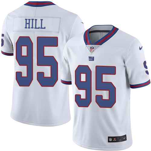 Nike New York Giants 95 B.J. Hill White Men's Stitched NFL Limited Rush Jersey