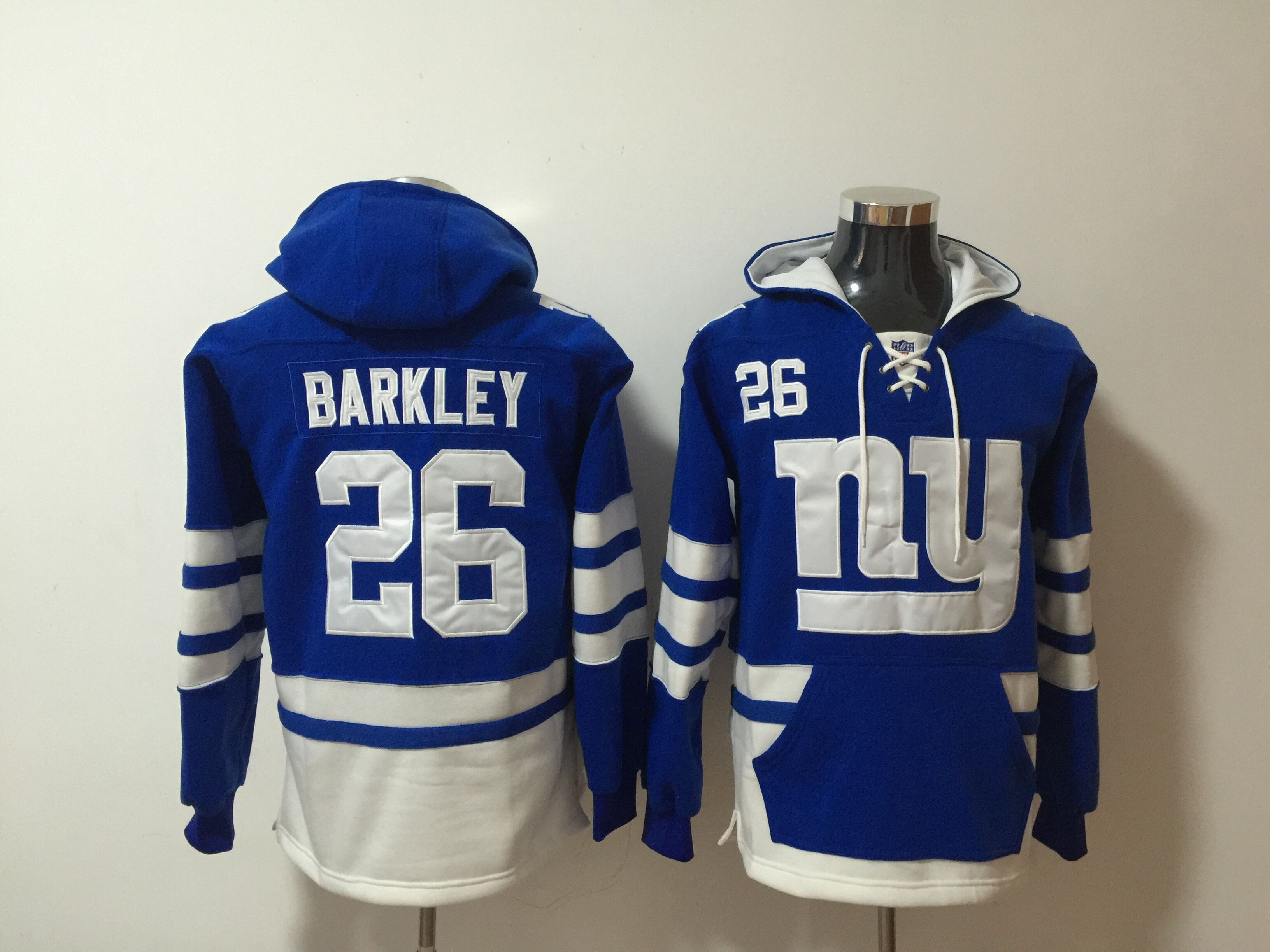 Giants 26 Saquon Barkley Royal All Stitched Hooded Sweatshirt