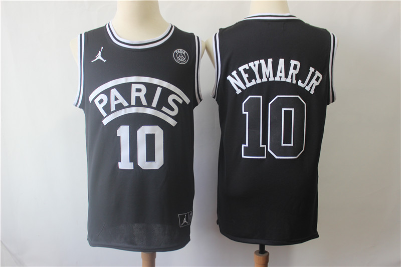 Paris Saint-Germain 10 Neymar Jr Black Jordan Fashion Jersey