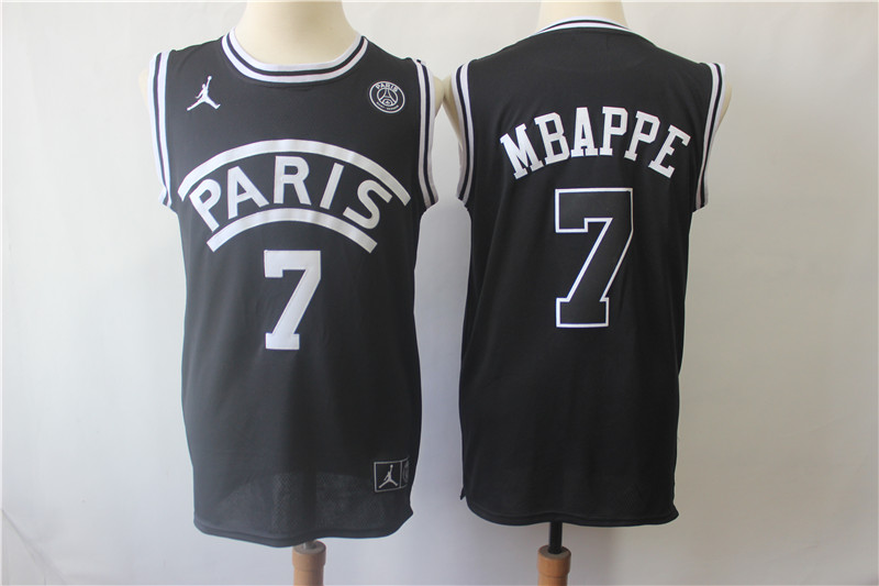 Paris Saint-Germain 7 Mbappe Black Jordan Fashion Jersey