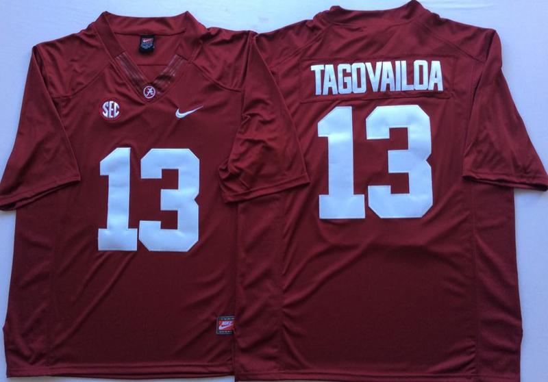 Alabama Crimson Tide 13 Tua Tagovailoa Red College Football Jersey