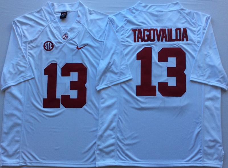 Alabama Crimson Tide 13 Tua Tagovailoa White College Football Jersey