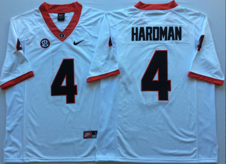 Georgia Bulldogs 4 Mecole Hardman White Nike College Football Jersey