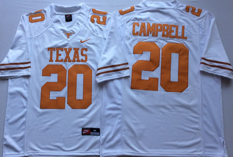 Texas Longhorns 20 Earl Campbell White Nike College Football Jersey