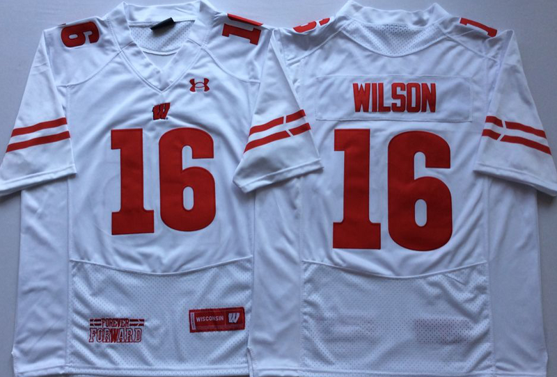 Wisconsin Badgers 16 Russell Wilson White Nike College Football Jersey