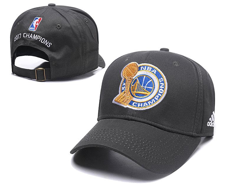 Warriors 2017 NBA Champions Gray Peaked Adjustable Hat GS