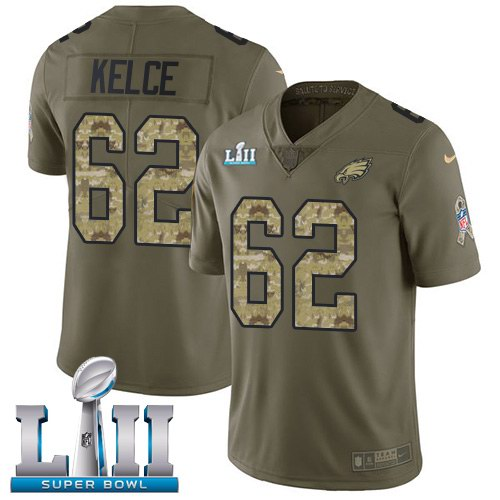 Nike Eagles 62 Jason Kelce Olive Camo 2018 Super Bowl LII Salute To Service Limited Jersey