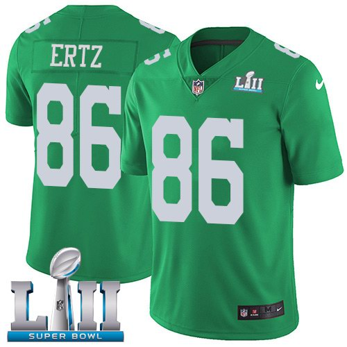 Nike Eagles 86 Zach Ertz Green 2018 Super Bowl LII Color Rush Limited Jersey
