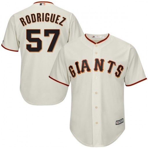 Giants 57 Derek Rodriguez Cream Youth Cool Base Jersey