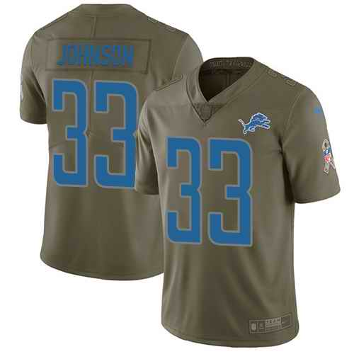 Nike Lions 33 Kerryon Johnson Olive Salute To Service Limited Jersey