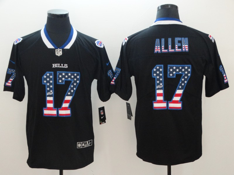 Nike Bills 17 Josh Allen Black USA Flag Fashion Limited Jersey