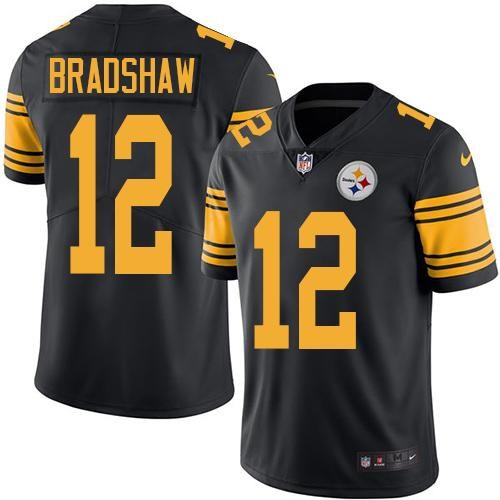 Nike Steelers 12 Terry Bradshaw Black Youth Color Rush Limited Jersey