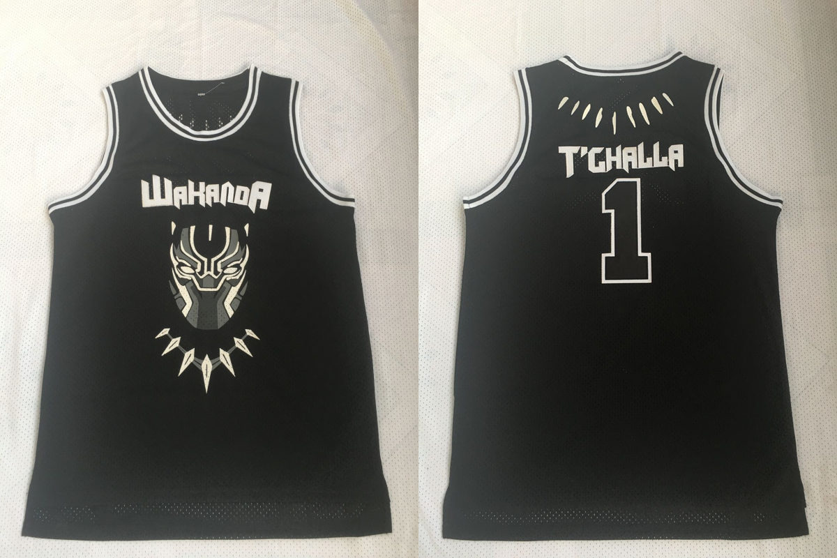 Black Panther Wakanda 1 T'Challa Black Stitched Movie Basketball Jersey