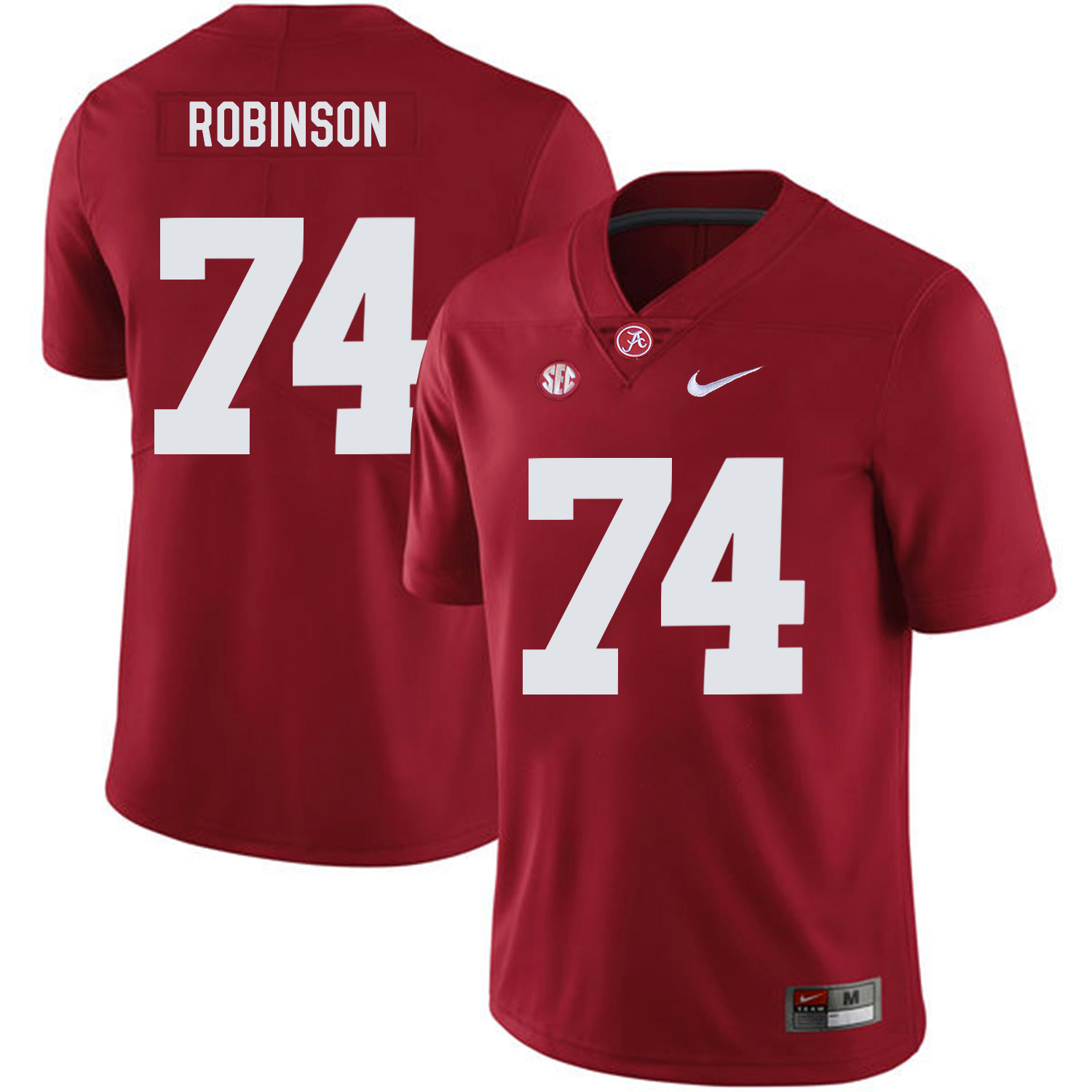 Alabama Crimson Tide 74 Cam Robinson Red Nike College Football Jersey