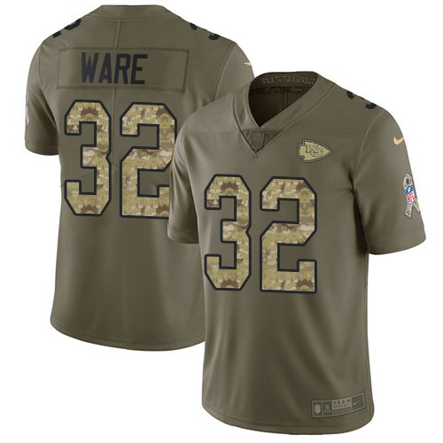 Nike Chiefs 32 Spencer Ware Olive Camo Salute To Service Limited Jersey