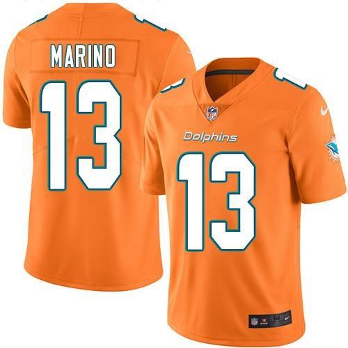 Nike Dolphins 13 Dan Marino Orange Vapor Untouchable Limited Jersey