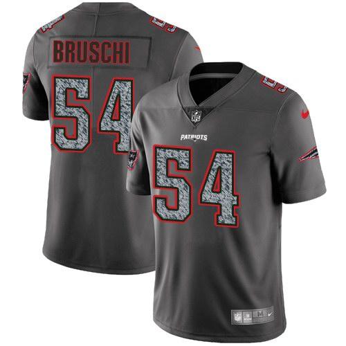 Nike Patriots 54 Tedy Bruschi Gray Static Vapor Untouchable Limited Jersey