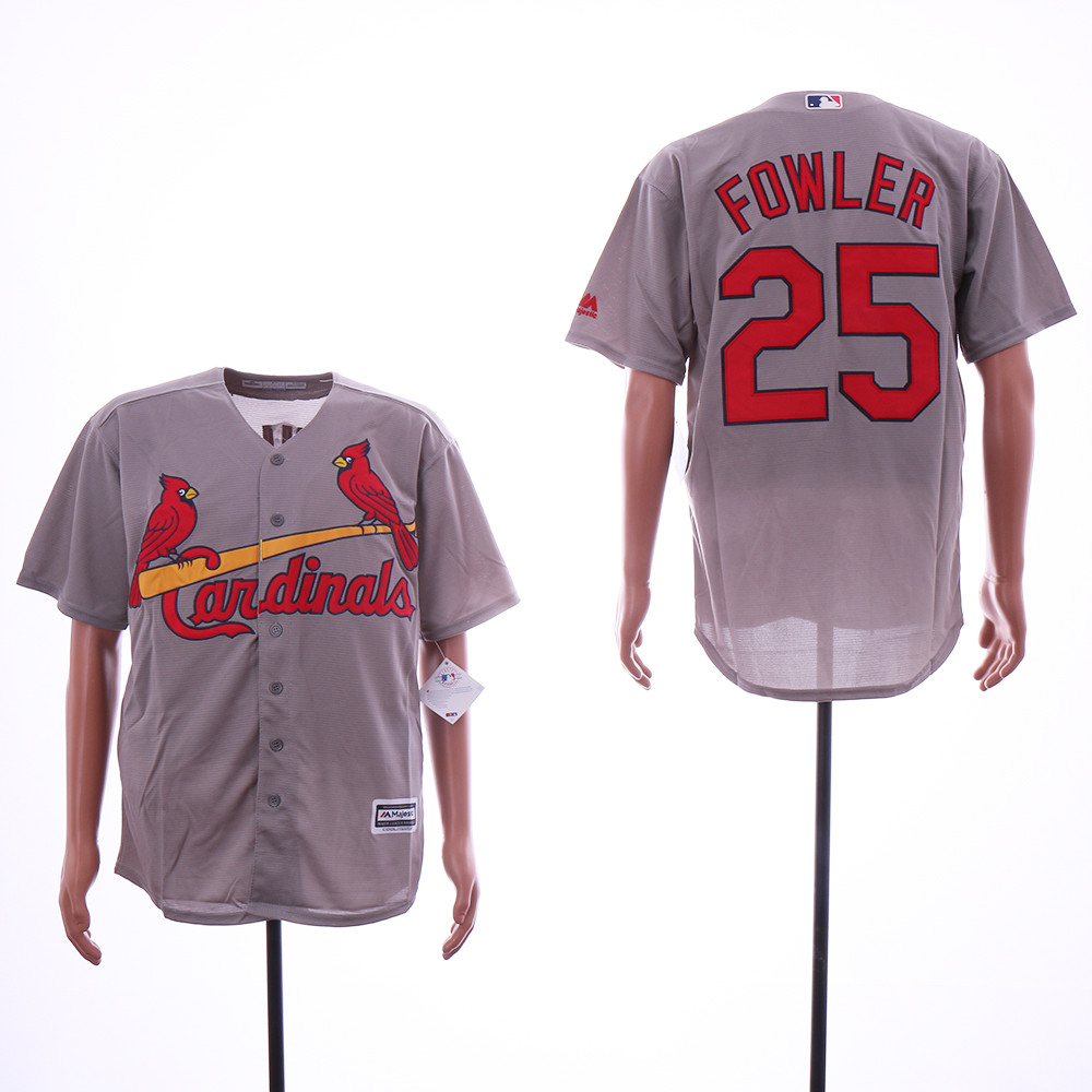 Cardinals 25 Dexter Fowler Gray Cool Base Jersey