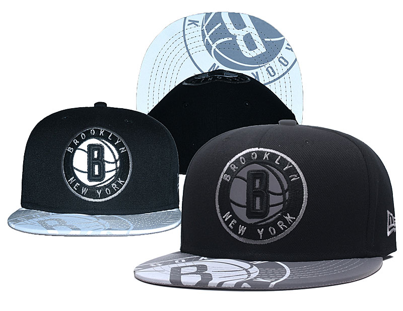 Brooklyn Nets Reflective Logo Black Adjustable Hat GS
