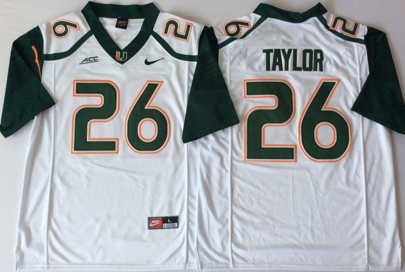 Miami Hurricanes 26 Sean Taylor White Nike College Football Jersey