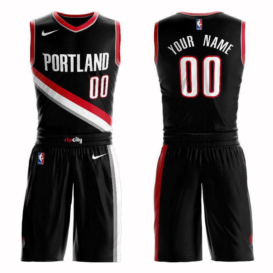 Blazers Black Men's Customized Nike Swingman Jersey(With Shorts)