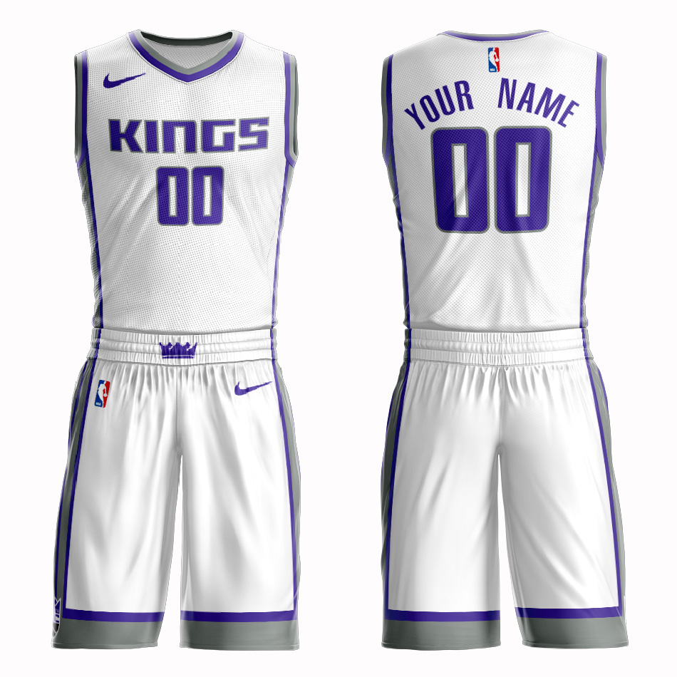 Kings White Men's Customized Nike Swingman Jersey(With Shorts)