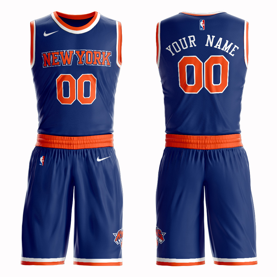 Knicks Blue Men's Customized Nike Swingman Jersey(With Shorts)
