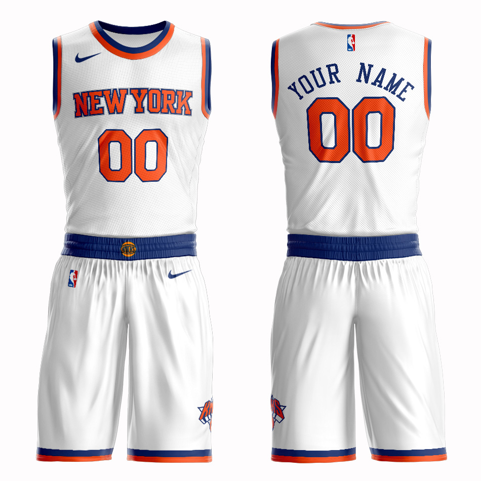 Knicks White Men's Customized Nike Swingman Jersey(With Shorts)