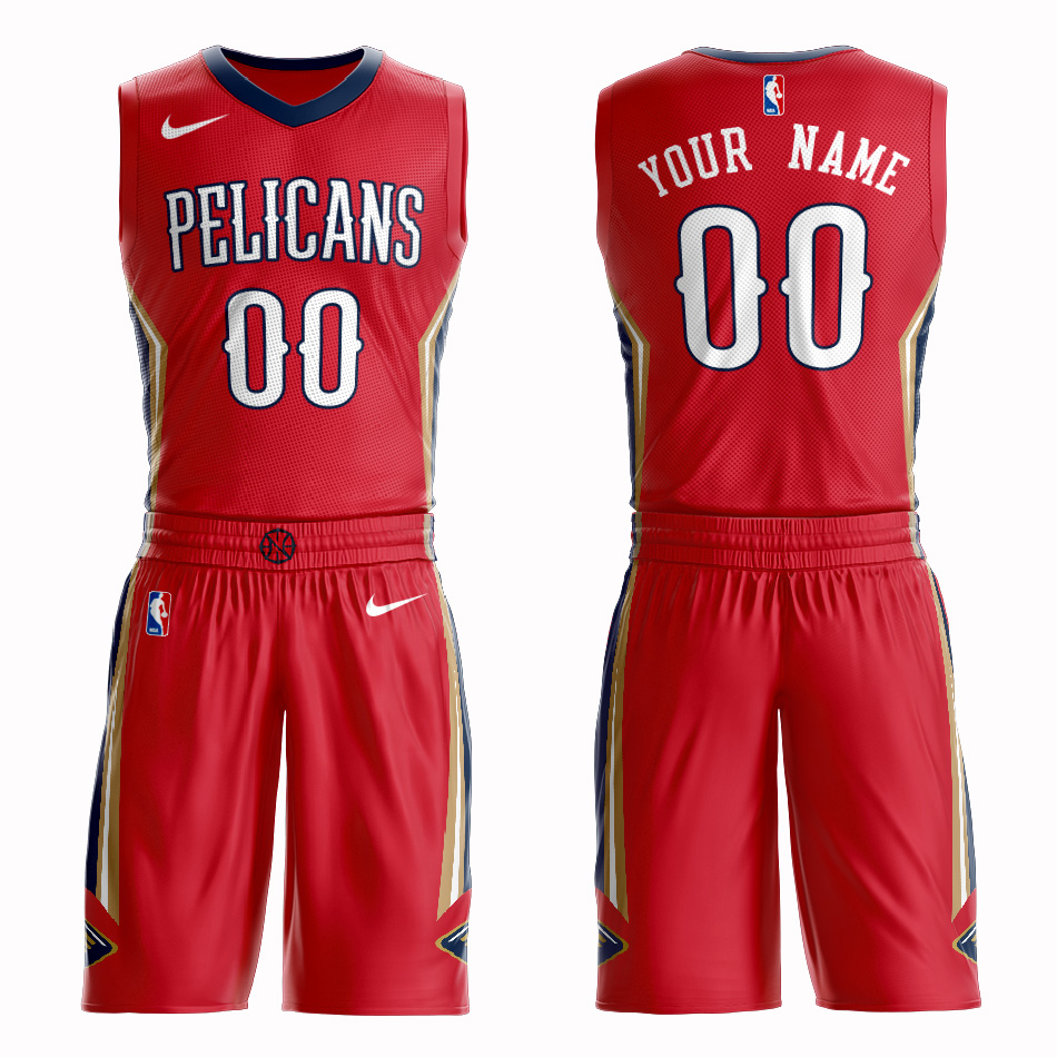 Pelicans Red Men's Customized Nike Swingman Jersey(With Shorts)