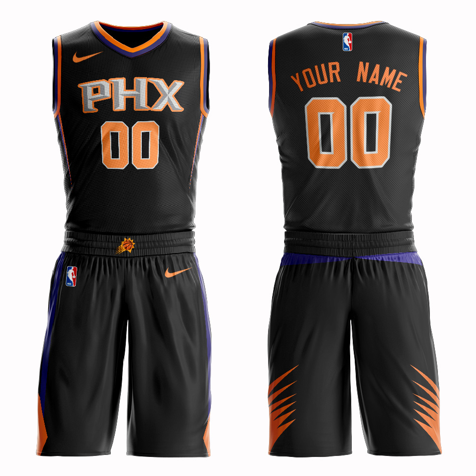 Suns Black Men's Customized Nike Swingman Jersey(With Shorts)