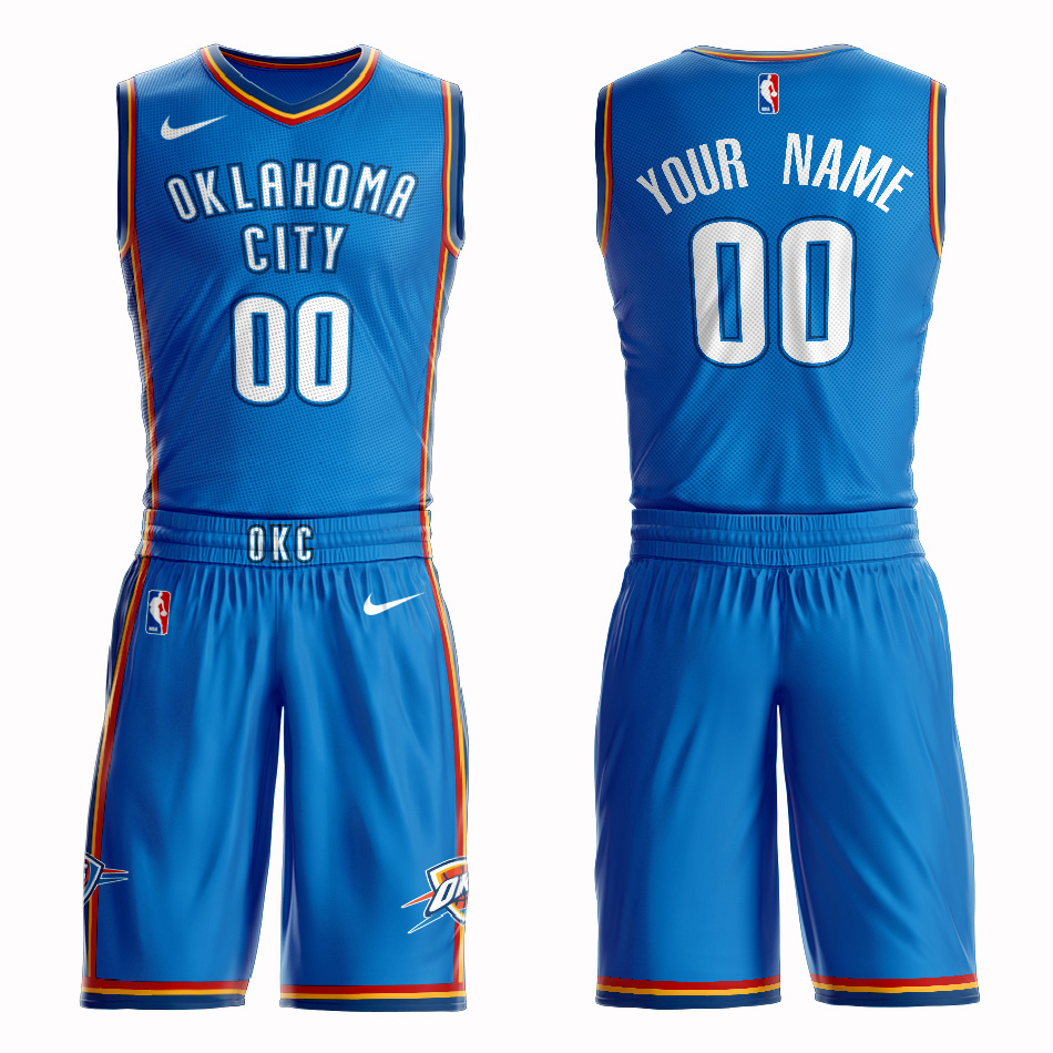 Thunder Blue Men's Customized Nike Swingman Jersey(With Shorts)