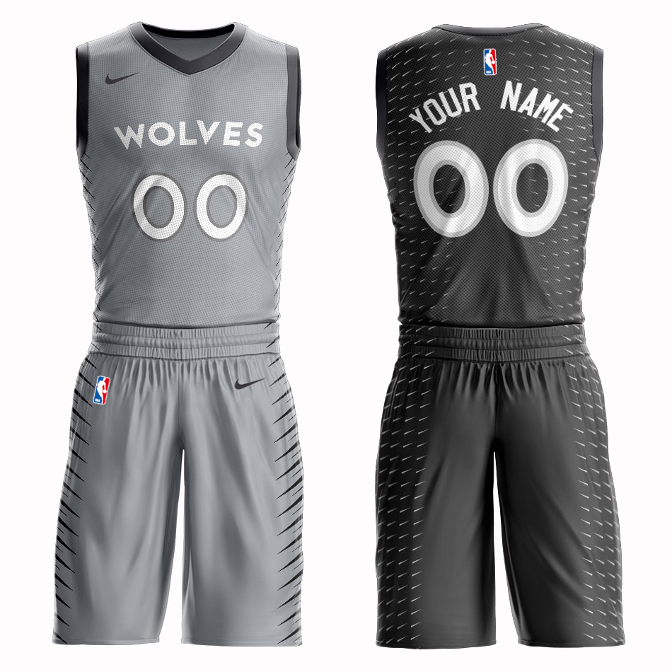 Timberwolves Gray Men's Customized Nike Swingman Jersey(With Shorts)