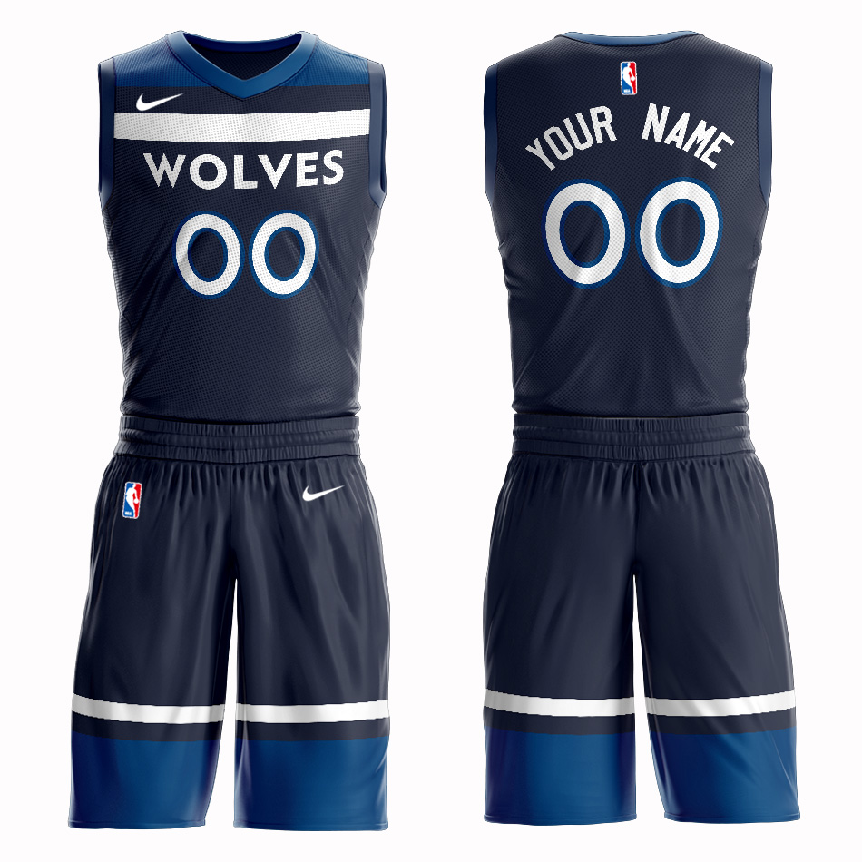 Timberwolves Navy Men's Customized Nike Swingman Jersey(With Shorts)