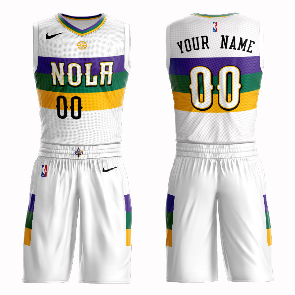 Pelicans White 2018-19 City Edition Men's Customized Nike Swingman Jersey(With Shorts)