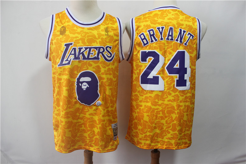Lakers Bape 24 Kobe Bryant Yellow Hardwood Classics Jersey