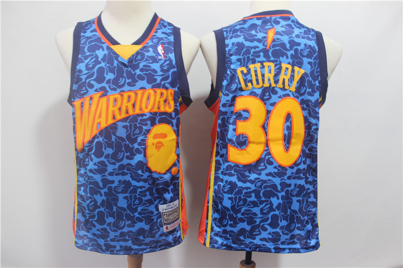 Warriors 30 Stephen Curry Blue Hardwood Classics Jersey