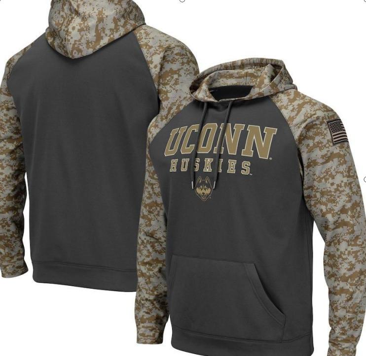 Connecticut Huskies Gray Camo Men's Pullover Hoodie