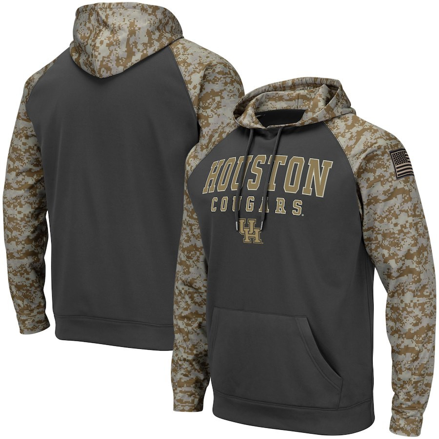 Houston Cougars Gray Camo Men's Pullover Hoodie