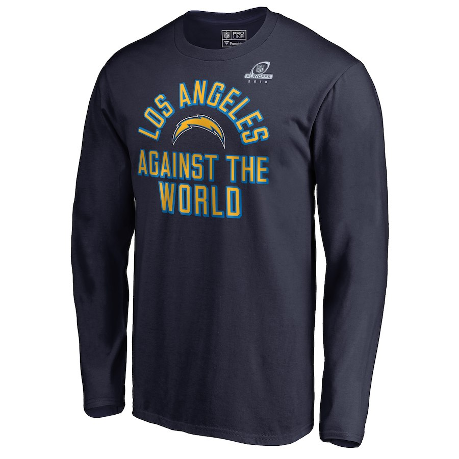 Chargers Navy 2018 NFL Playoffs Against The World Men's Long Sleeve T-Shirt