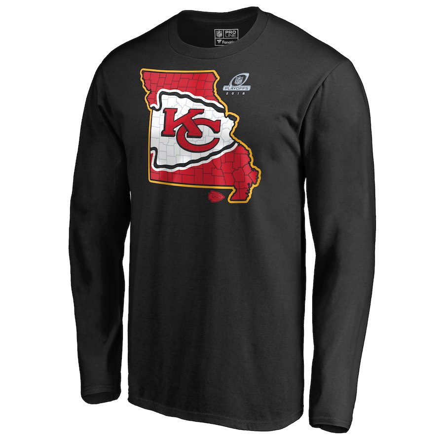 Chiefs Black 2018 NFL Playoffs Men's Long Sleeve T-Shirt