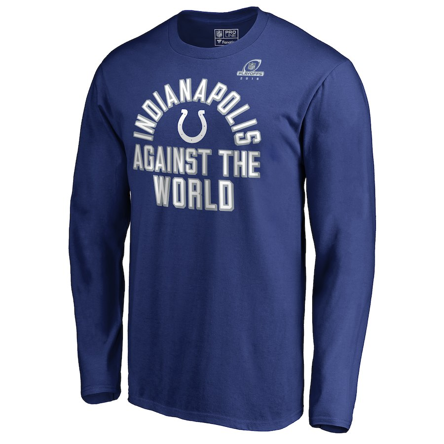 Colts Blue 2018 NFL Playoffs Against The World Men's Long Sleeve T-Shirt