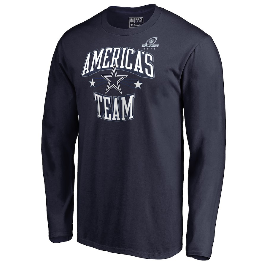 Cowboys Navy 2018 NFL Playoffs America's Team Men's Long Sleeve T-Shirt