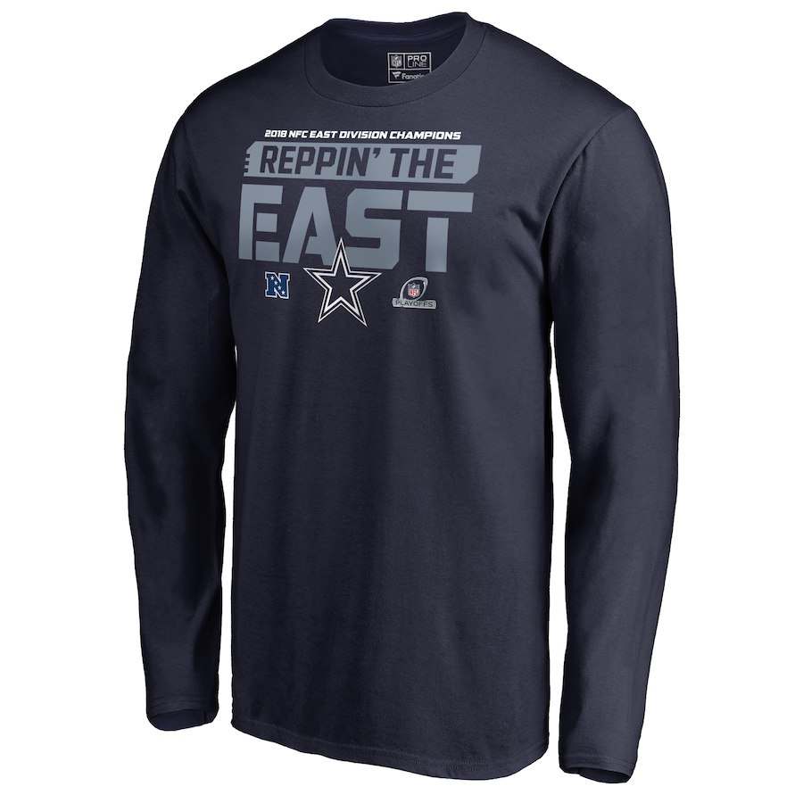 Cowboys Navy 2018 NFL Playoffs Reppin' The East Men's Long Sleeve T-Shirt