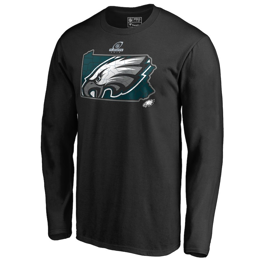 Eagles Black 2018 NFL Playoffs Men's Long Sleeve T-Shirt