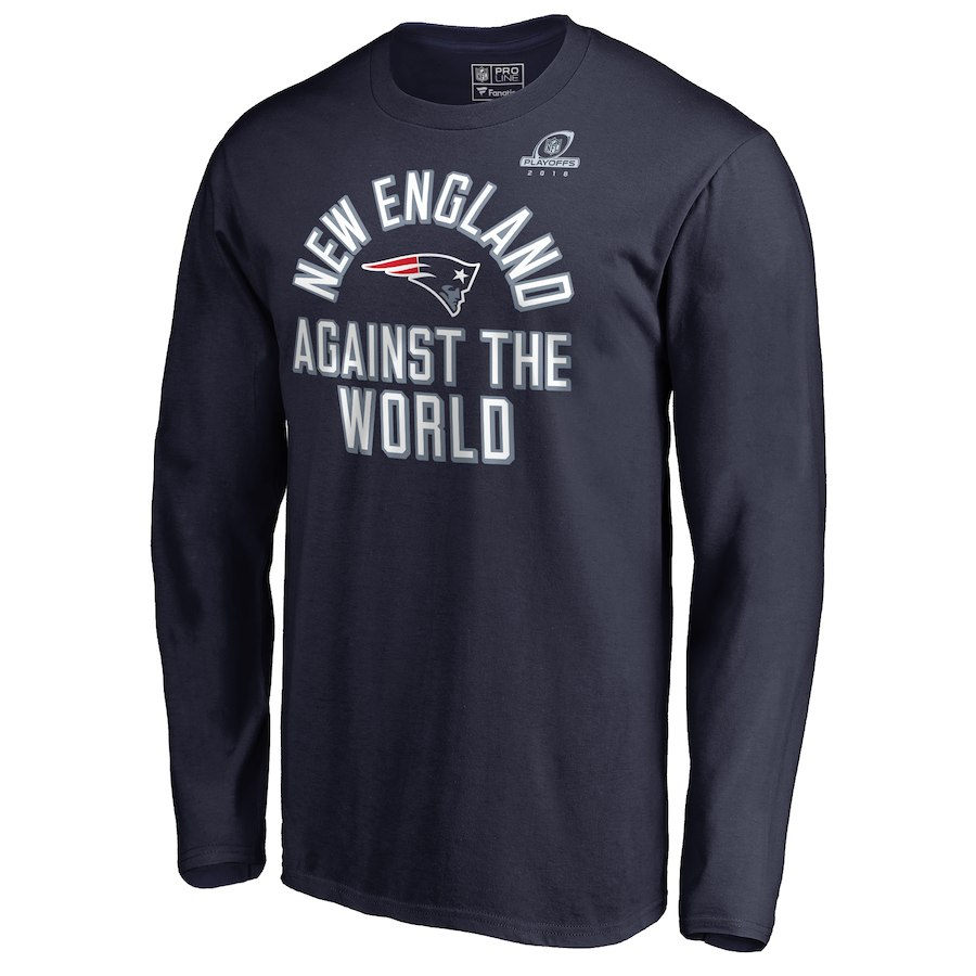 Patriots Navy 2018 NFL Playoffs Against The World Men's Long Sleeve T-Shirt